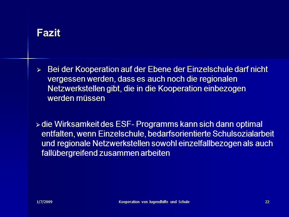 1/7/2009Kooperation von Jugendhilfe und Schule22 Fazit Bei der Kooperation auf der Ebene der Einzelschule darf nicht vergessen werden, dass es auch no