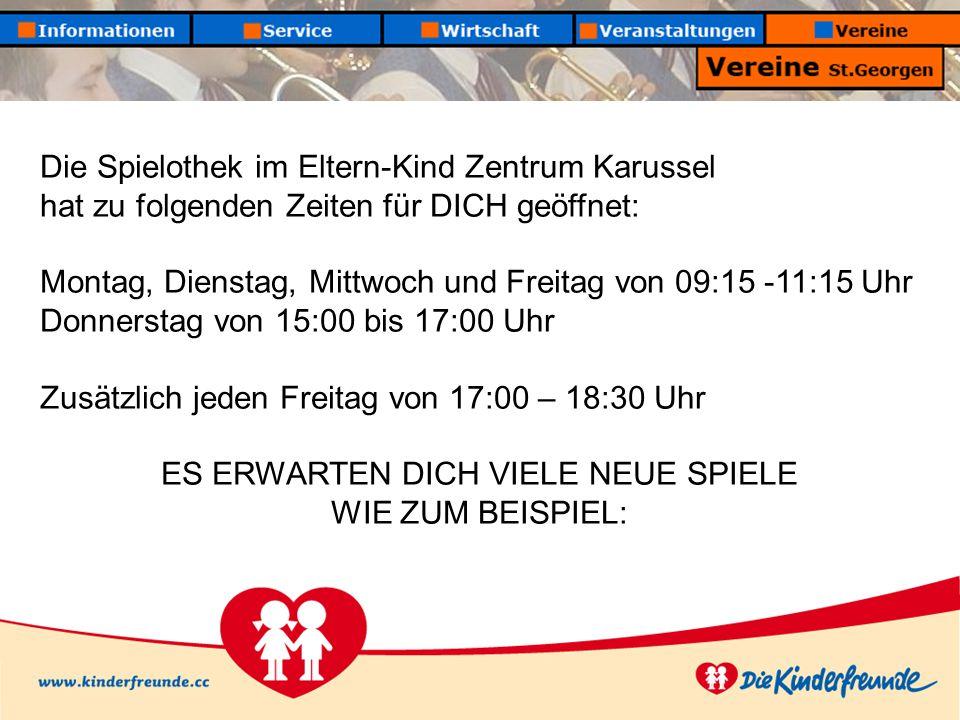 Die Spielothek im Eltern-Kind Zentrum Karussel hat zu folgenden Zeiten für DICH geöffnet: Montag, Dienstag, Mittwoch und Freitag von 09:15 -11:15 Uhr