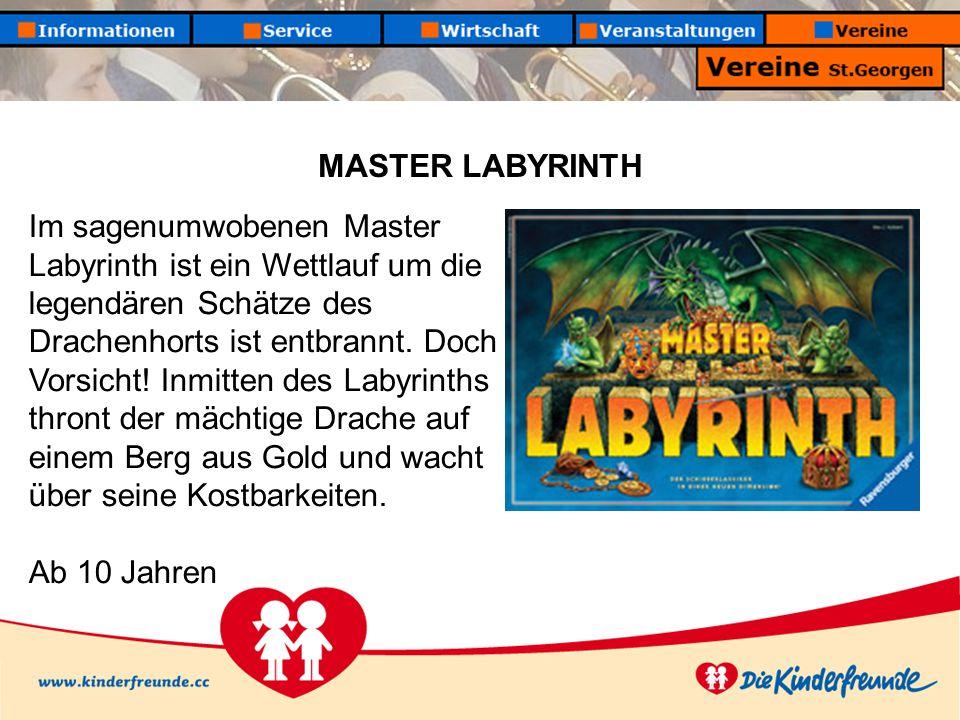 MASTER LABYRINTH Im sagenumwobenen Master Labyrinth ist ein Wettlauf um die legendären Schätze des Drachenhorts ist entbrannt. Doch Vorsicht! Inmitten