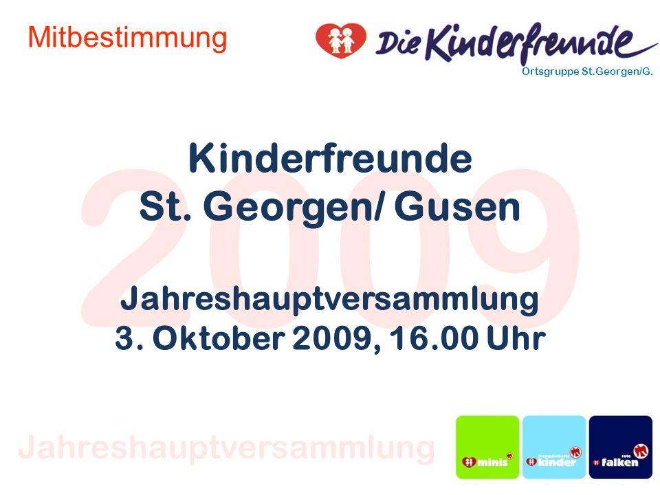 2009 Ortsgruppe St.Georgen/G. Jahreshauptversammlung Mitbestimmung Kinderfreunde St. Georgen/ Gusen Jahreshauptversammlung 3. Oktober 2009, 16.00 Uhr