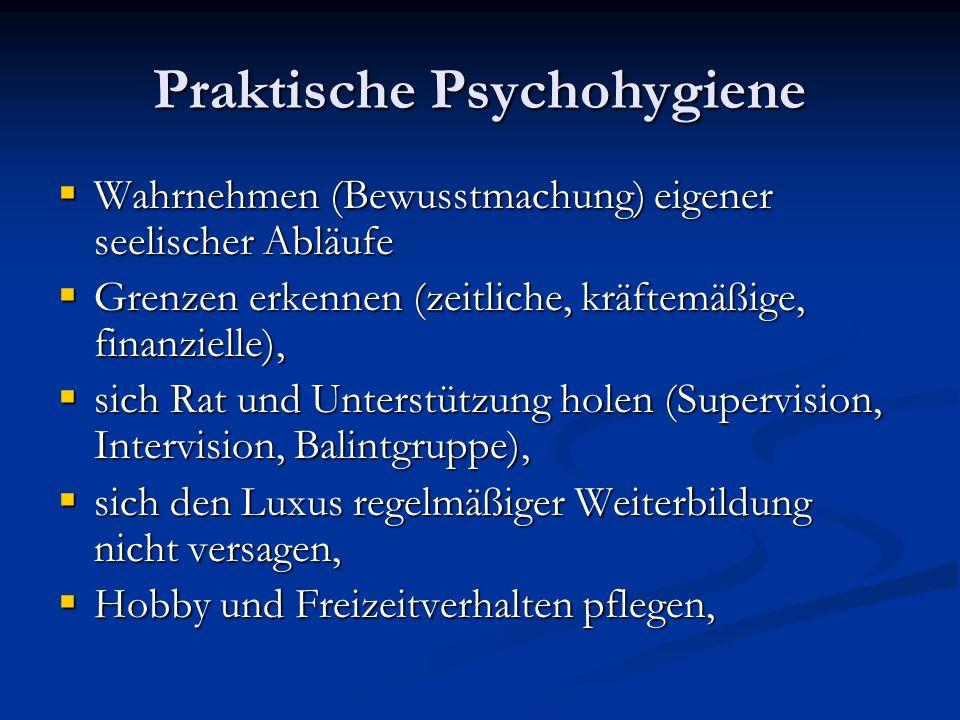 Praktische Psychohygiene Wahrnehmen (Bewusstmachung) eigener seelischer Abläufe Wahrnehmen (Bewusstmachung) eigener seelischer Abläufe Grenzen erkenne