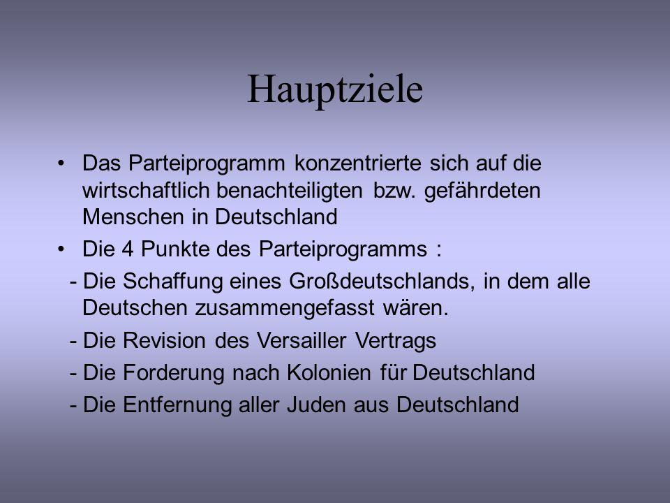 Hauptziele Das Parteiprogramm konzentrierte sich auf die wirtschaftlich benachteiligten bzw. gefährdeten Menschen in Deutschland Die 4 Punkte des Part