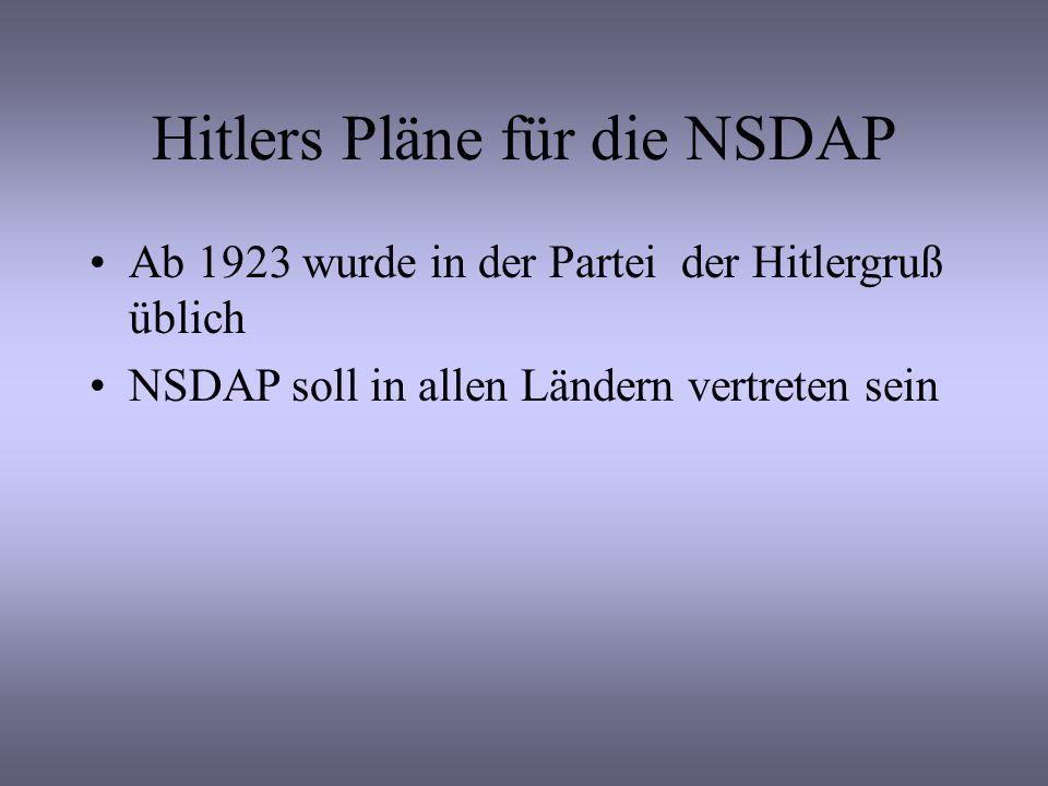 Hitlers Pläne für die NSDAP Ab 1923 wurde in der Partei der Hitlergruß üblich NSDAP soll in allen Ländern vertreten sein