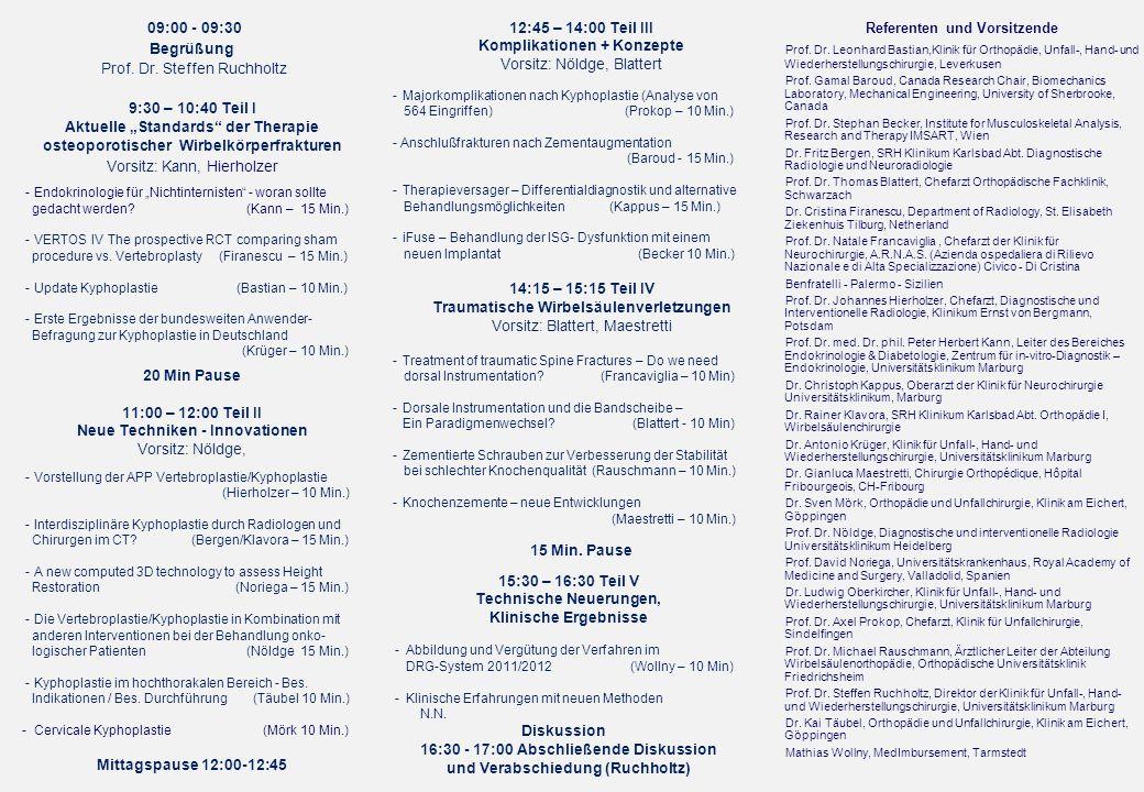 Referenten und Vorsitzende Prof. Dr. Leonhard Bastian,Klinik für Orthopädie, Unfall-, Hand- und Wiederherstellungschirurgie, Leverkusen Prof. Gamal Ba