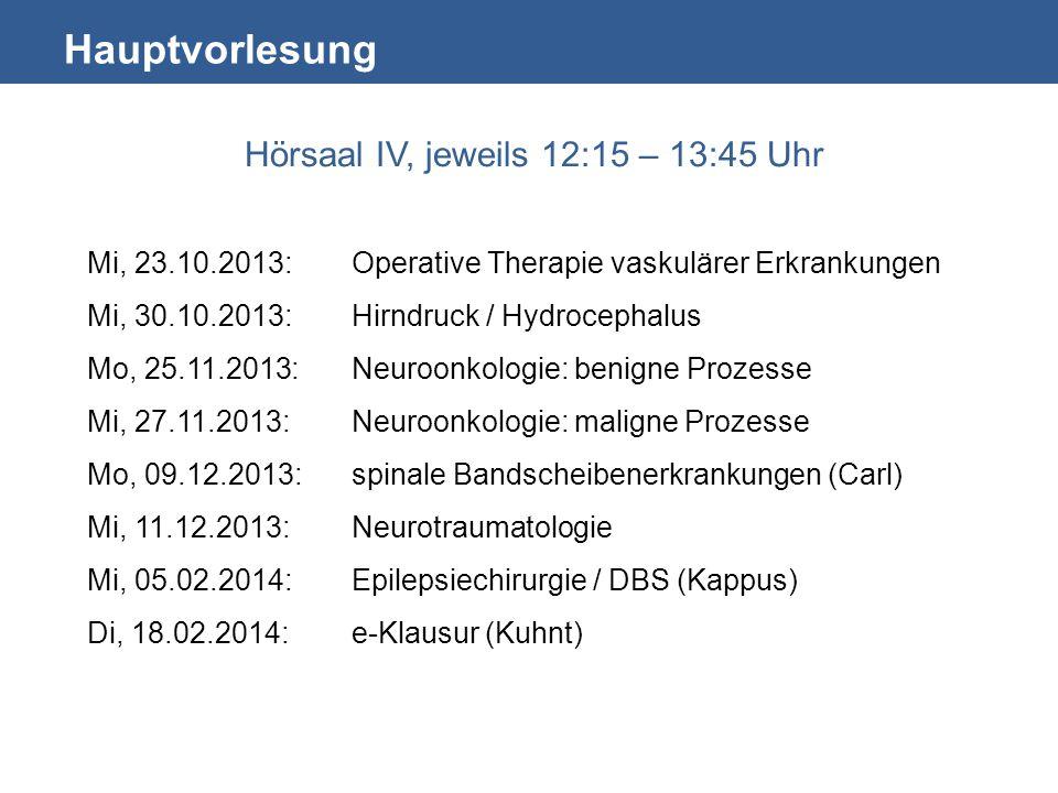 Hauptvorlesung Hörsaal IV, jeweils 12:15 – 13:45 Uhr Mi, 23.10.2013:Operative Therapie vaskulärer Erkrankungen Mi, 30.10.2013:Hirndruck / Hydrocephalu