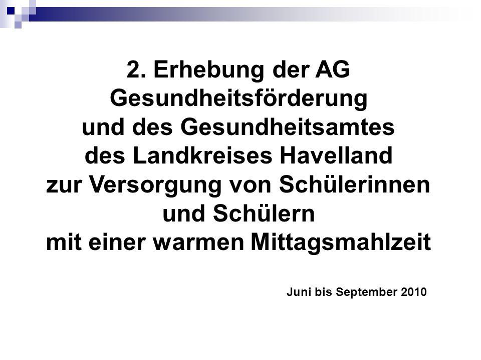 2. Erhebung der AG Gesundheitsförderung und des Gesundheitsamtes des Landkreises Havelland zur Versorgung von Schülerinnen und Schülern mit einer warm