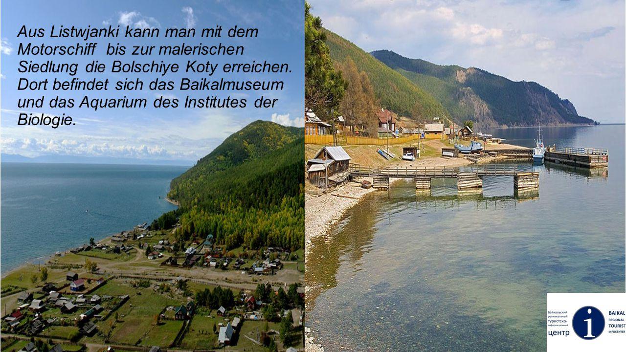 Aus Listwjanki kann man mit dem Motorschiff bis zur malerischen Siedlung die Bolschiye Koty erreichen. Dort befindet sich das Baikalmuseum und das Aqu