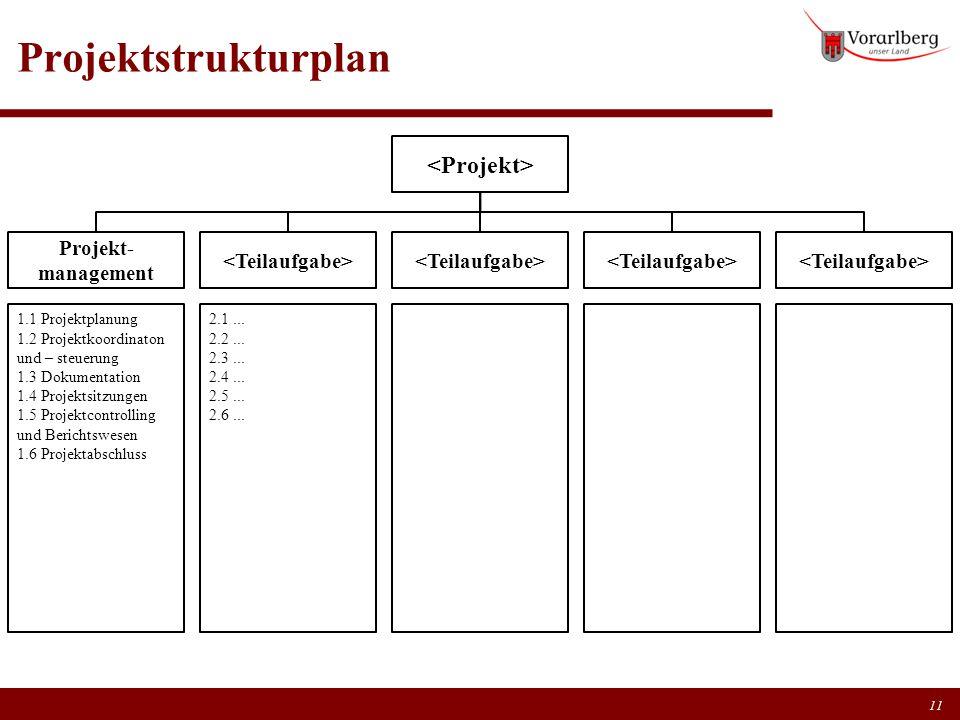 Projektstrukturplan 11 Projekt- management 1.1 Projektplanung 1.2 Projektkoordinaton und – steuerung 1.3 Dokumentation 1.4 Projektsitzungen 1.5 Projek