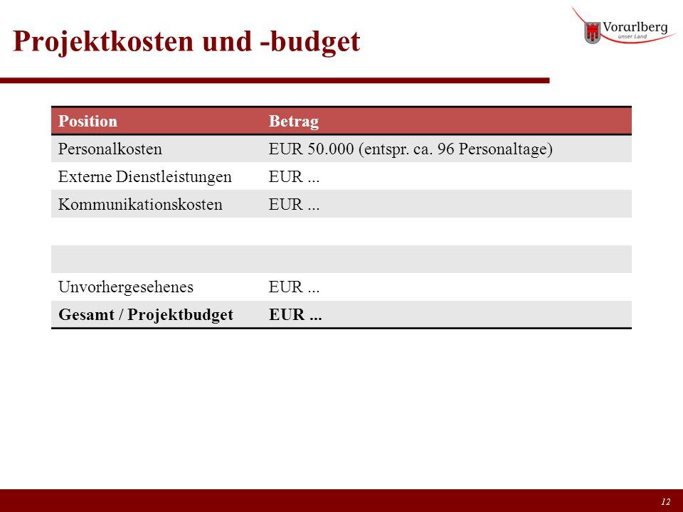 Projektkosten und -budget PositionBetrag PersonalkostenEUR 50.000 (entspr. ca. 96 Personaltage) Externe DienstleistungenEUR... KommunikationskostenEUR