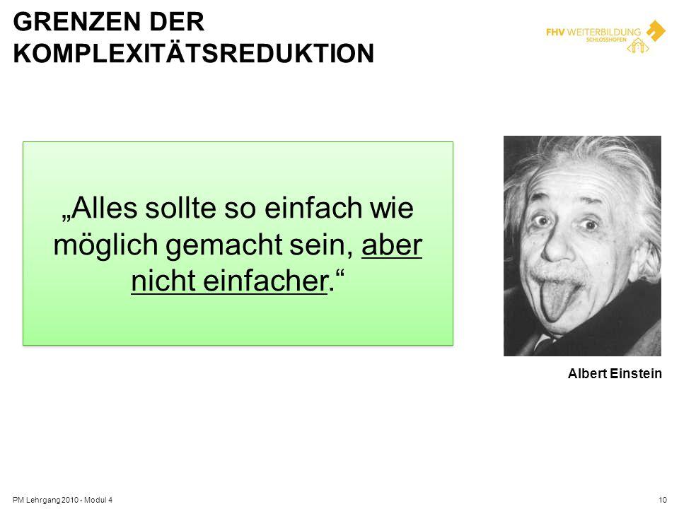 GRENZEN DER KOMPLEXITÄTSREDUKTION PM Lehrgang 2010 - Modul 410 Albert Einstein Alles sollte so einfach wie möglich gemacht sein, aber nicht einfacher.