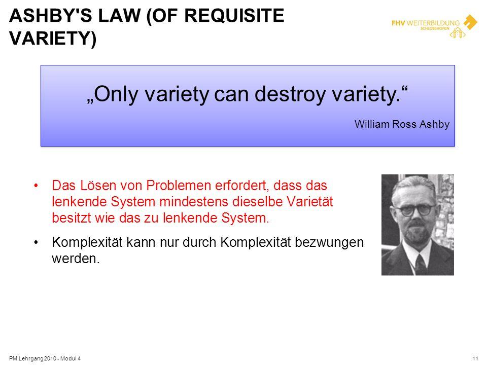 ASHBY'S LAW (OF REQUISITE VARIETY) PM Lehrgang 2010 - Modul 411 Das Lösen von Problemen erfordert, dass das lenkende System mindestens dieselbe Variet