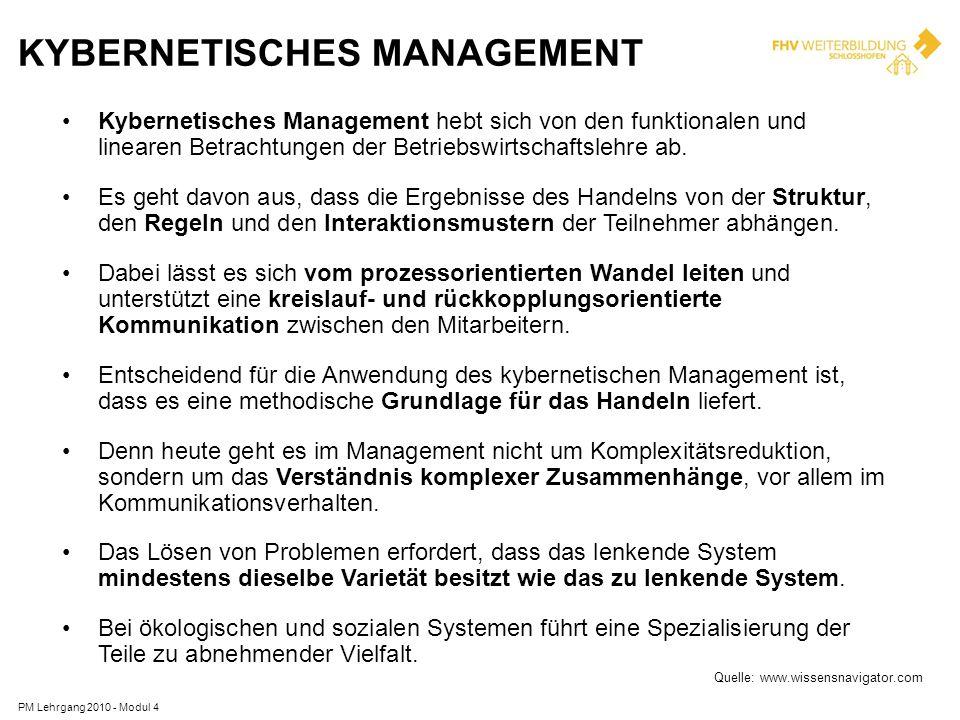 KYBERNETISCHES MANAGEMENT Kybernetisches Management hebt sich von den funktionalen und linearen Betrachtungen der Betriebswirtschaftslehre ab. Es geht