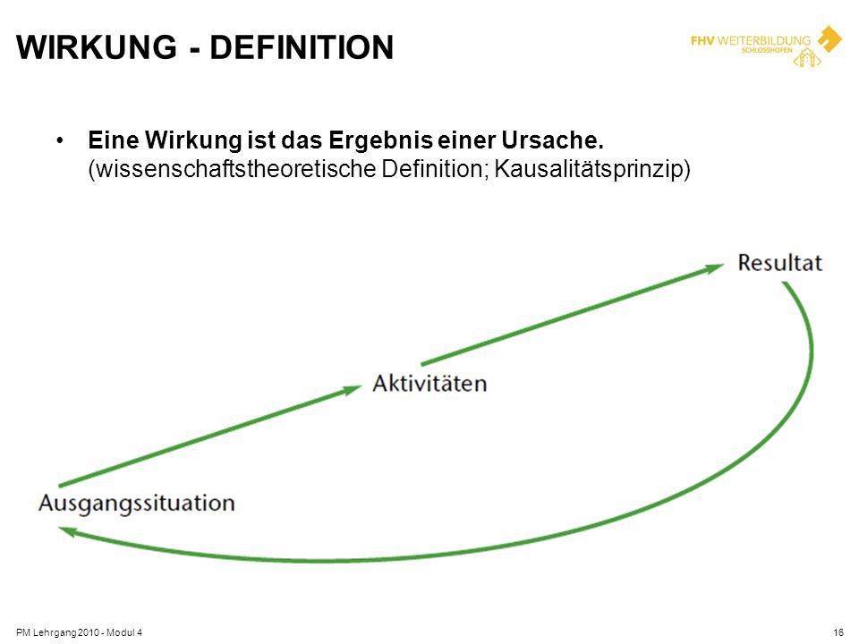 WIRKUNG - DEFINITION Eine Wirkung ist das Ergebnis einer Ursache. (wissenschaftstheoretische Definition; Kausalitätsprinzip) PM Lehrgang 2010 - Modul