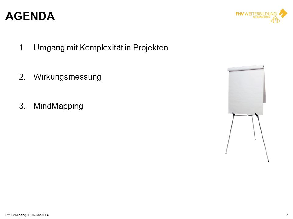 AGENDA 1.Umgang mit Komplexität in Projekten 2.Wirkungsmessung 3.MindMapping PM Lehrgang 2010 - Modul 42