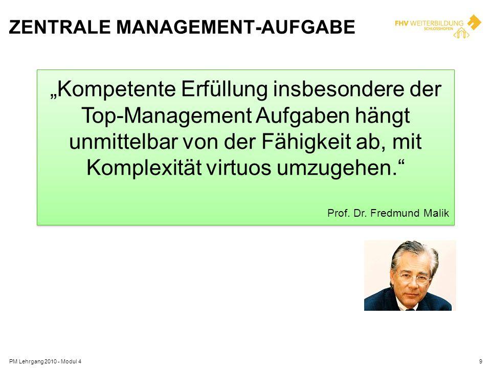 ZENTRALE MANAGEMENT-AUFGABE PM Lehrgang 2010 - Modul 49 Kompetente Erfüllung insbesondere der Top-Management Aufgaben hängt unmittelbar von der Fähigk