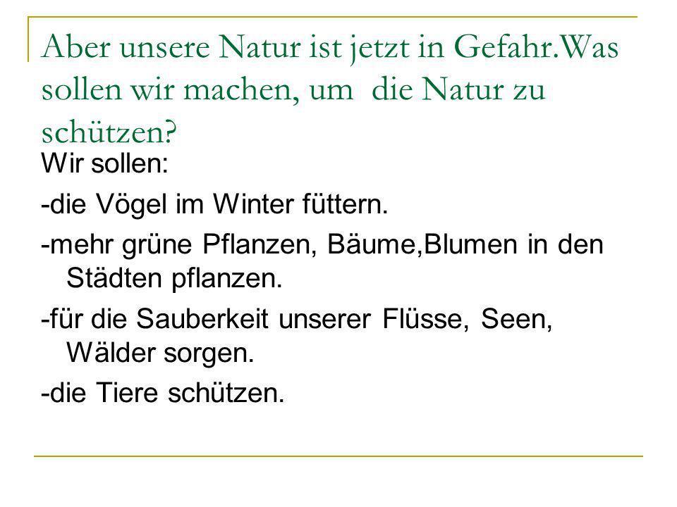 Aber unsere Natur ist jetzt in Gefahr.Was sollen wir machen, um die Natur zu schützen? Wir sollen: -die Vögel im Winter füttern. -mehr grüne Pflanzen,