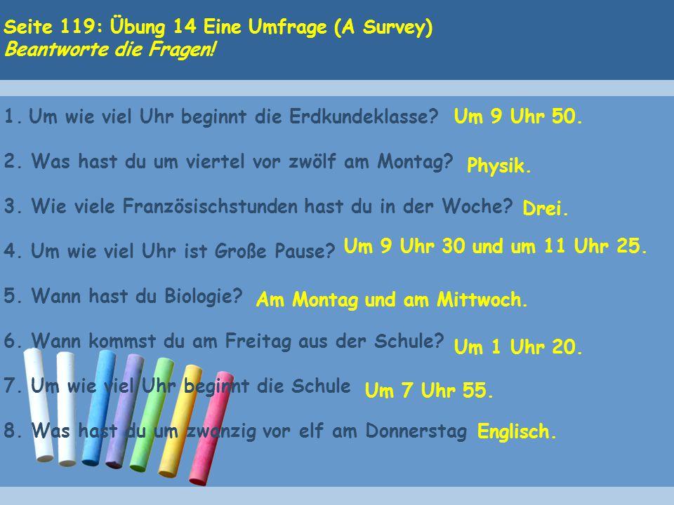 Seite 119: Übung 14 Eine Umfrage (A Survey) Beantworte die Fragen.
