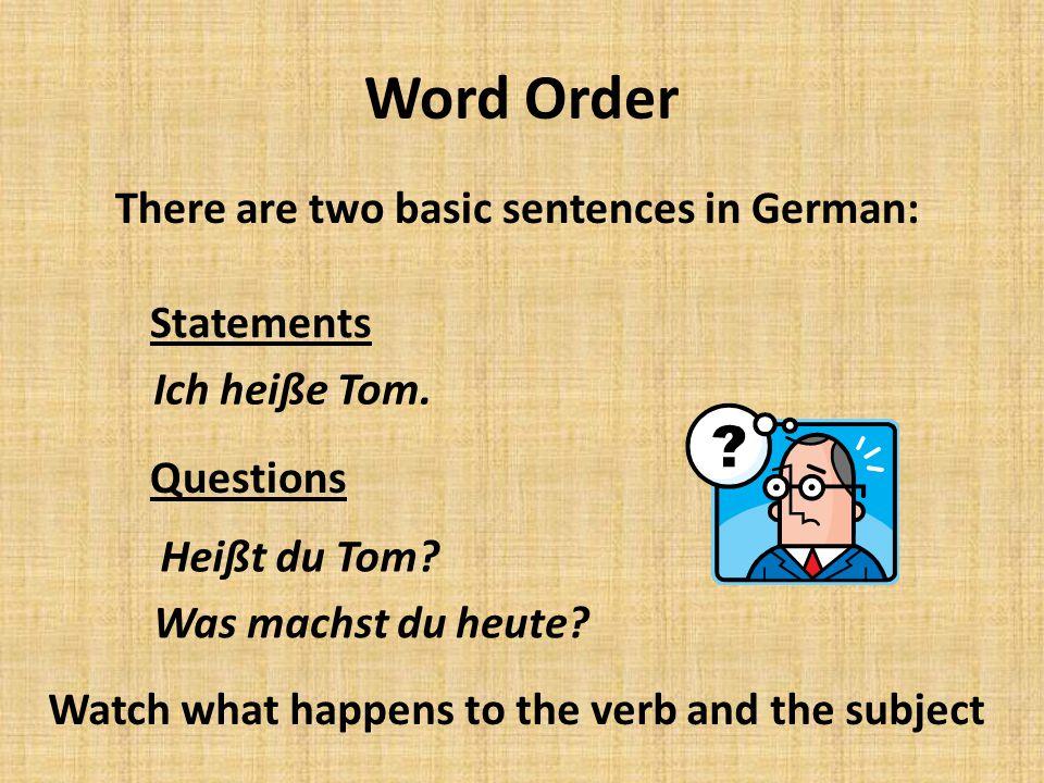 Subjekt Wer.Verb Normal Word Order Subjekt Wer. Verb Inverted Word Order Peter.