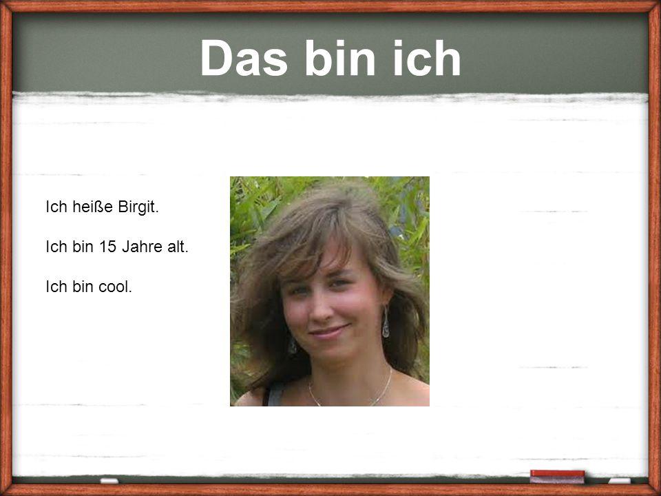 Das bin ich Ich heiße Birgit. Ich bin 15 Jahre alt. Ich bin cool.