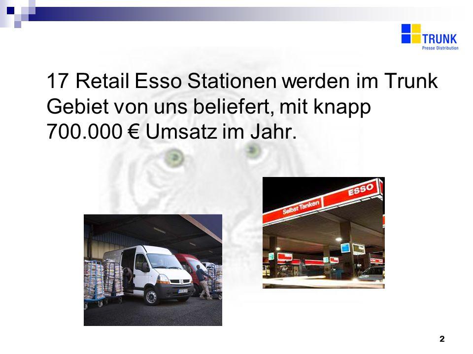 2 17 Retail Esso Stationen werden im Trunk Gebiet von uns beliefert, mit knapp 700.000 Umsatz im Jahr.