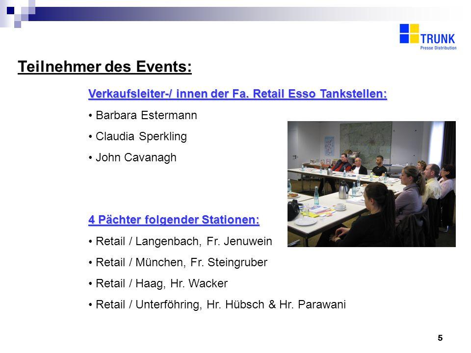 5 Teilnehmer des Events: Verkaufsleiter-/ innen der Fa.