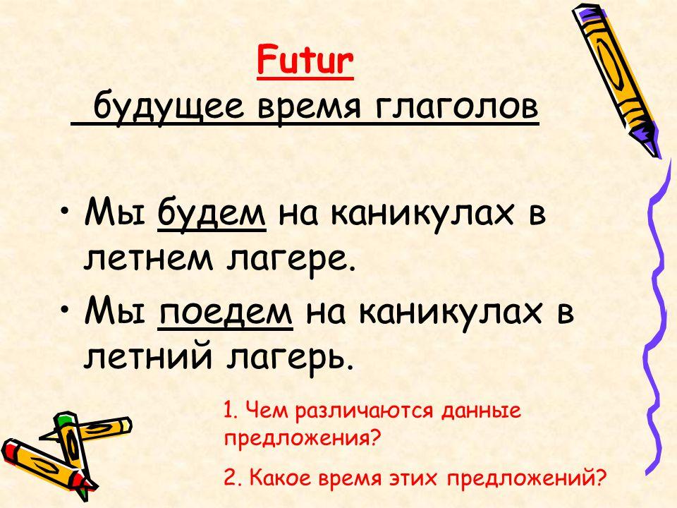 Futur будущее время глаголов Мы будем на каникулах в летнем лагере. Мы поедем на каникулах в летний лагерь. 1. Чем различаются данные предложения? 2.