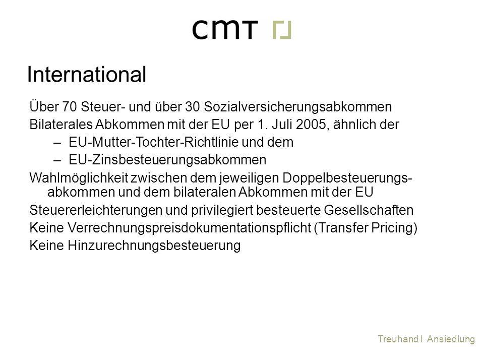 Über 70 Steuer- und über 30 Sozialversicherungsabkommen Bilaterales Abkommen mit der EU per 1. Juli 2005, ähnlich der –EU-Mutter-Tochter-Richtlinie un