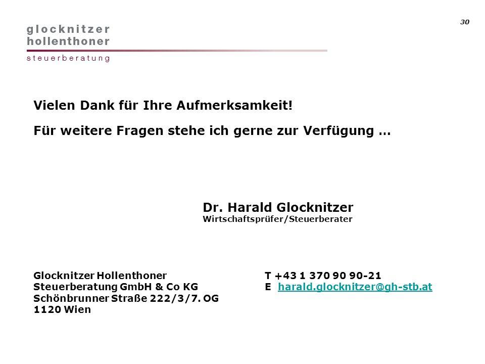 30 Vielen Dank für Ihre Aufmerksamkeit! Für weitere Fragen stehe ich gerne zur Verfügung … Dr. Harald Glocknitzer Wirtschaftsprüfer/Steuerberater Gloc