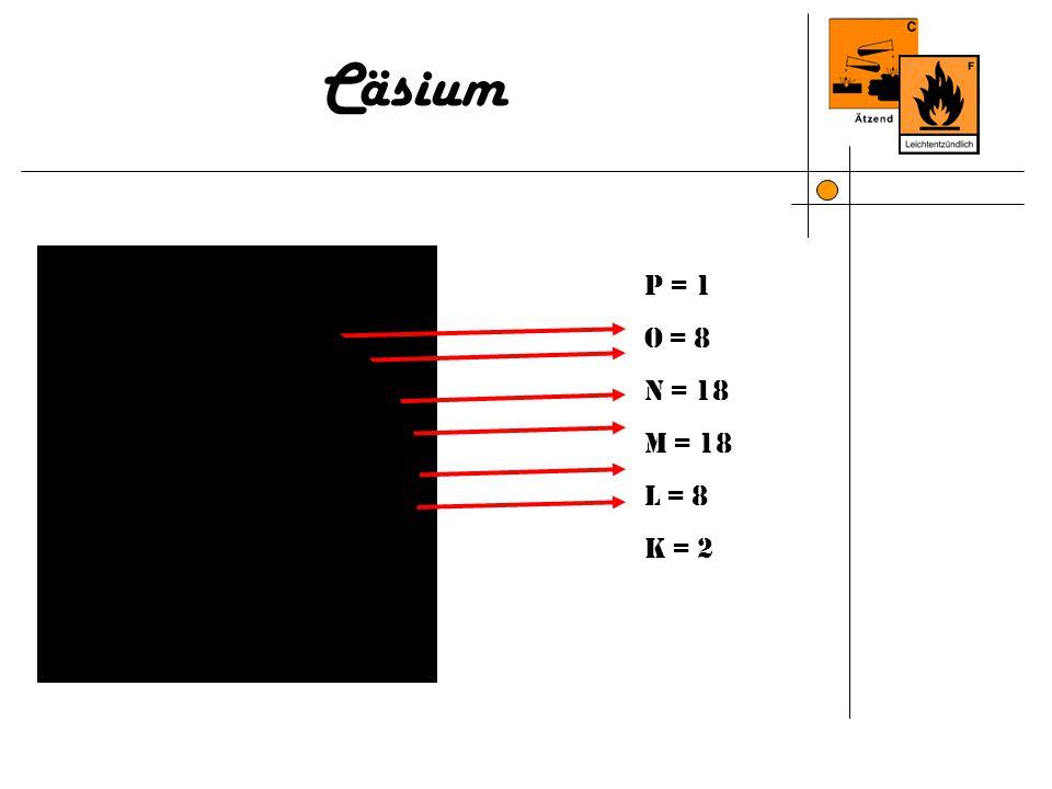 Cäsium P = 2 O = 8 N = 18 M = 18 L = 8 K = 2 P = 1 O = 8 N = 18 M = 18 L = 8 K = 2