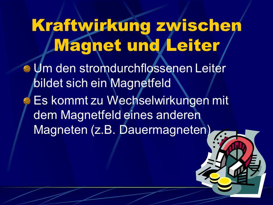 Kraftwirkung zwischen Magnet und Leiter Um den stromdurchflossenen Leiter bildet sich ein Magnetfeld Es kommt zu Wechselwirkungen mit dem Magnetfeld e