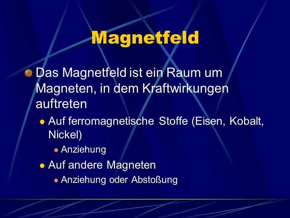 Magnetfeld Das Magnetfeld ist ein Raum um Magneten, in dem Kraftwirkungen auftreten Auf ferromagnetische Stoffe (Eisen, Kobalt, Nickel) Anziehung Auf