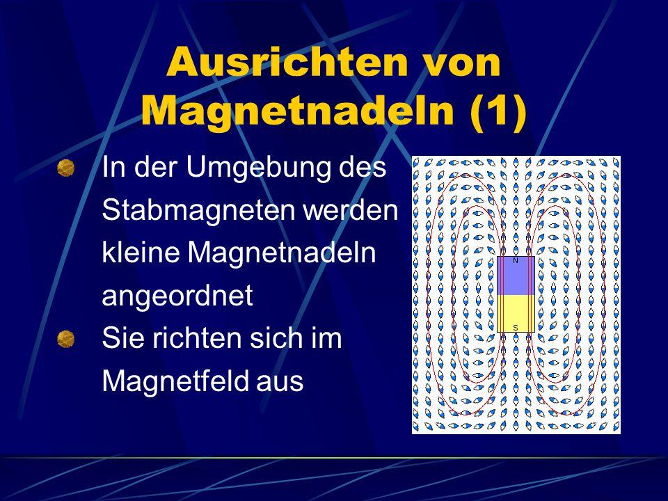 Ausrichten von Magnetnadeln (2) Im Feld eines Hufeisenmagneten