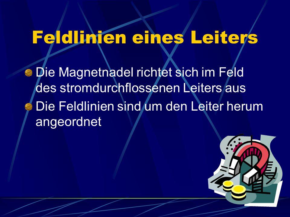 Kraftwirkung zwischen Magnet und Leiter Um den stromdurchflossenen Leiter bildet sich ein Magnetfeld Es kommt zu Wechselwirkungen mit dem Magnetfeld eines anderen Magneten (z.B.