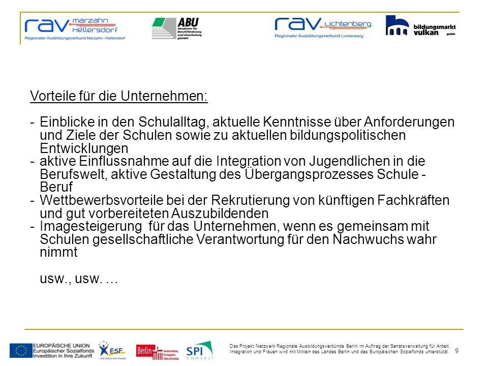 9 Das Projekt Netzwerk Regionale Ausbildungsverbünde Berlin im Auftrag der Senatsverwaltung für Arbeit, Integration und Frauen wird mit Mitteln des Landes Berlin und des Europäischen Sozialfonds unterstützt.