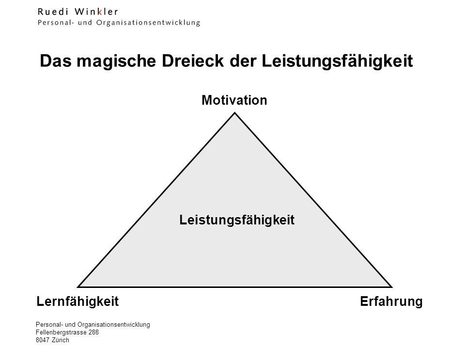 Personal- und Organisationsentwicklung Fellenbergstrasse 288 8047 Zürich Das magische Dreieck der Leistungsfähigkeit Motivation LernfähigkeitErfahrung Leistungsfähigkeit