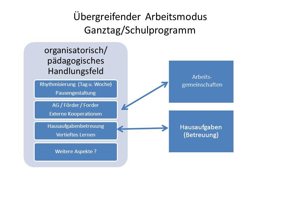 organisatorisch/ pädagogisches Handlungsfeld Rhythmisierung (Tag u. Woche) Pausengestaltung AG / Förder / Forder Externe Kooperationen Hausaufgabenbet