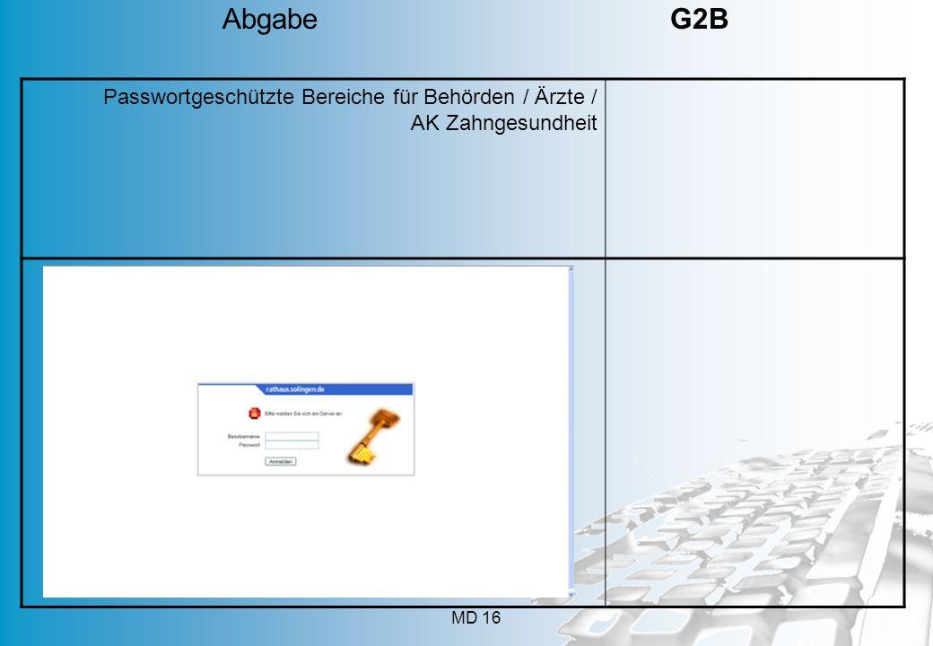 MD 16 Passwortgeschützte Bereiche für Behörden / Ärzte / AK Zahngesundheit Abgabe G2B