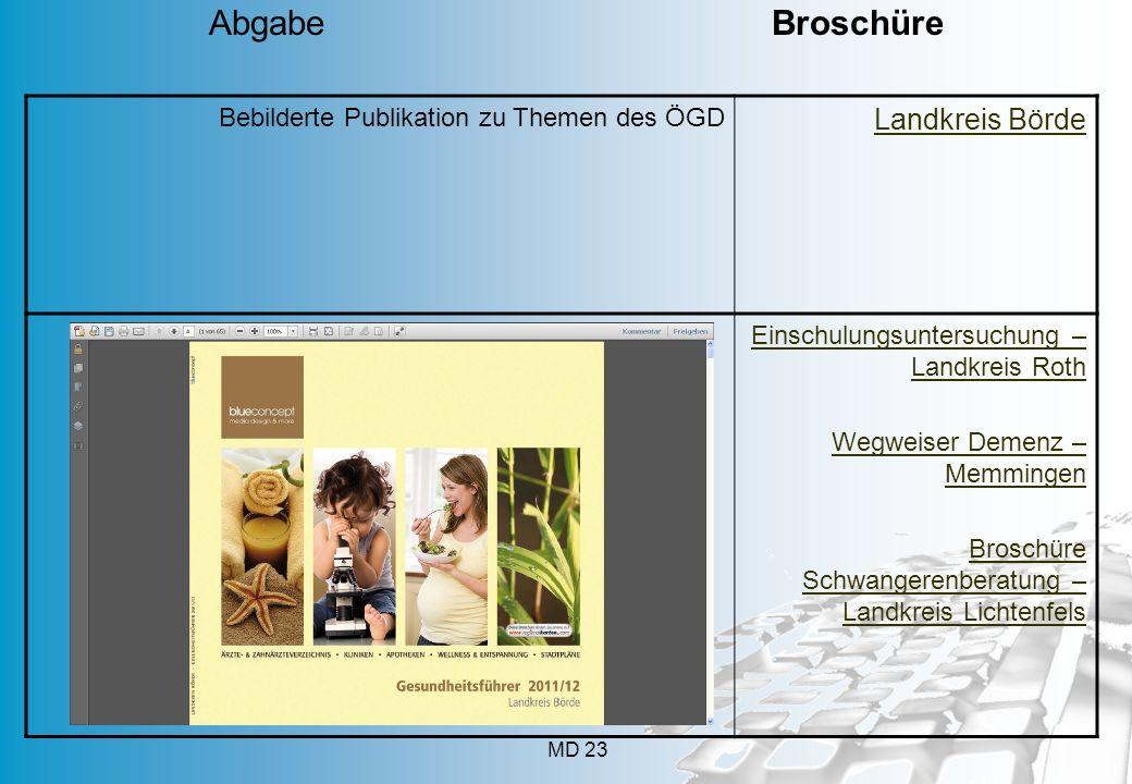 MD 23 Bebilderte Publikation zu Themen des ÖGD Landkreis Börde Einschulungsuntersuchung – Landkreis Roth Wegweiser Demenz – Memmingen Broschüre Schwan