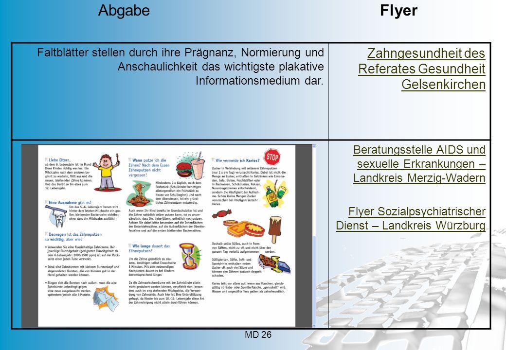 MD 26 Faltblätter stellen durch ihre Prägnanz, Normierung und Anschaulichkeit das wichtigste plakative Informationsmedium dar. Zahngesundheit des Refe