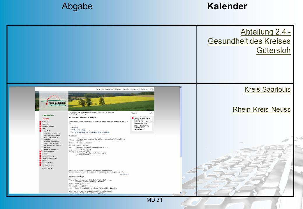 MD 31 Abteilung 2.4 - Gesundheit des Kreises Gütersloh Kreis Saarlouis Rhein-Kreis Neuss Abgabe Kalender