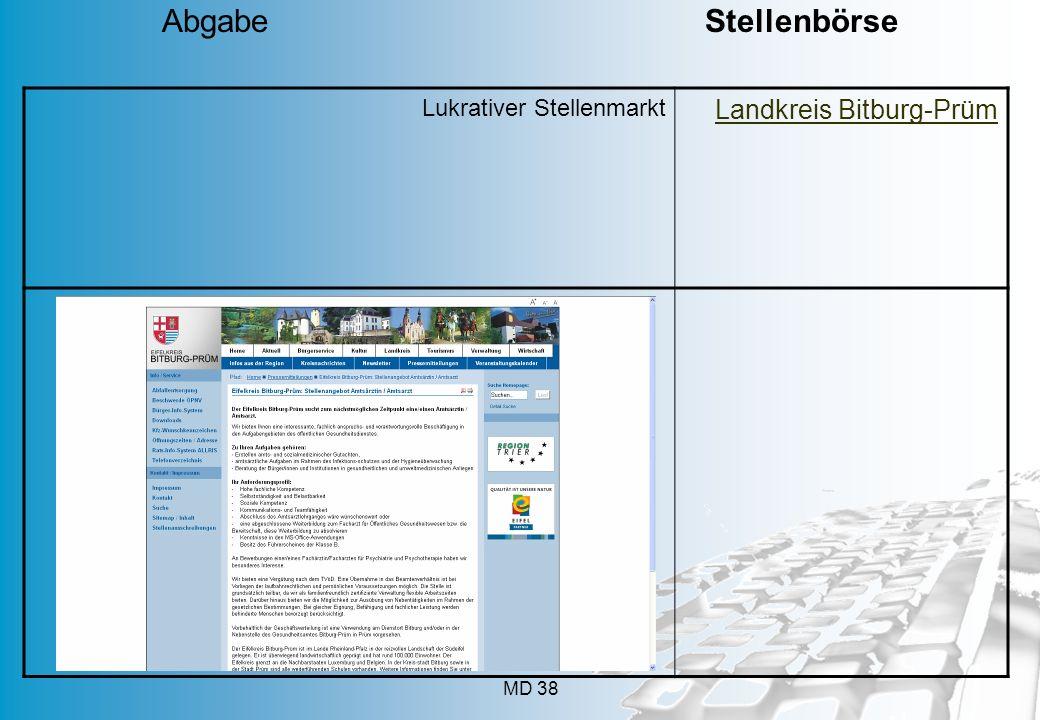 MD 38 Lukrativer Stellenmarkt Landkreis Bitburg-Prüm Abgabe Stellenbörse