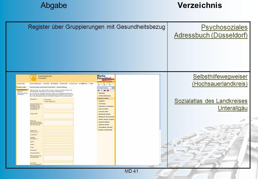 MD 41 Register über Gruppierungen mit Gesundheitsbezug Psychosoziales Adressbuch (Düsseldorf) Selbsthilfewegweiser (Hochsauerlandkreis) Sozialatlas de