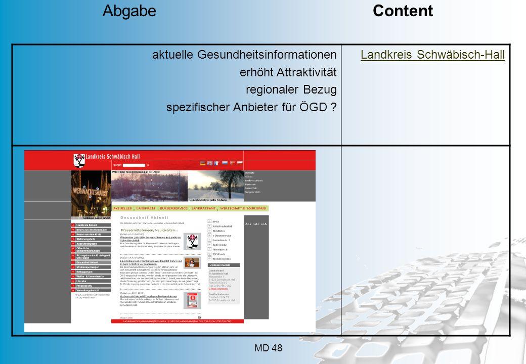 MD 48 aktuelle Gesundheitsinformationen erhöht Attraktivität regionaler Bezug spezifischer Anbieter für ÖGD ? Landkreis Schwäbisch-Hall Abgabe Content