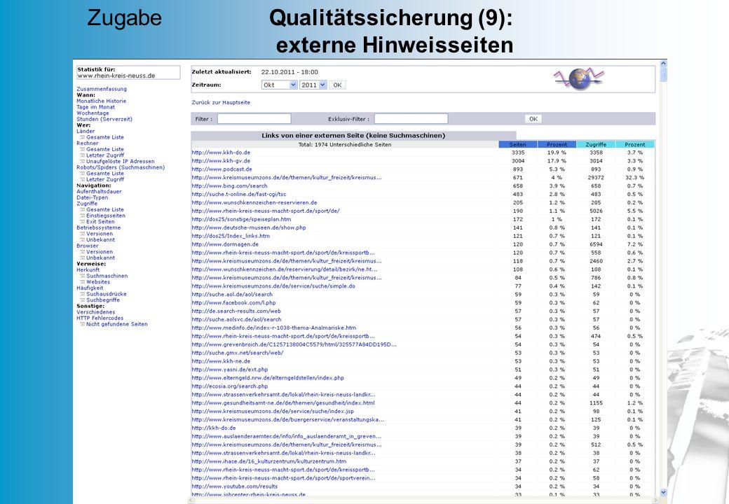 MD 60 Zugabe Qualitätssicherung (9): externe Hinweisseiten