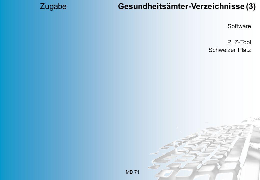 MD 71 Software PLZ-Tool Schweizer Platz Zugabe Gesundheitsämter-Verzeichnisse (3)