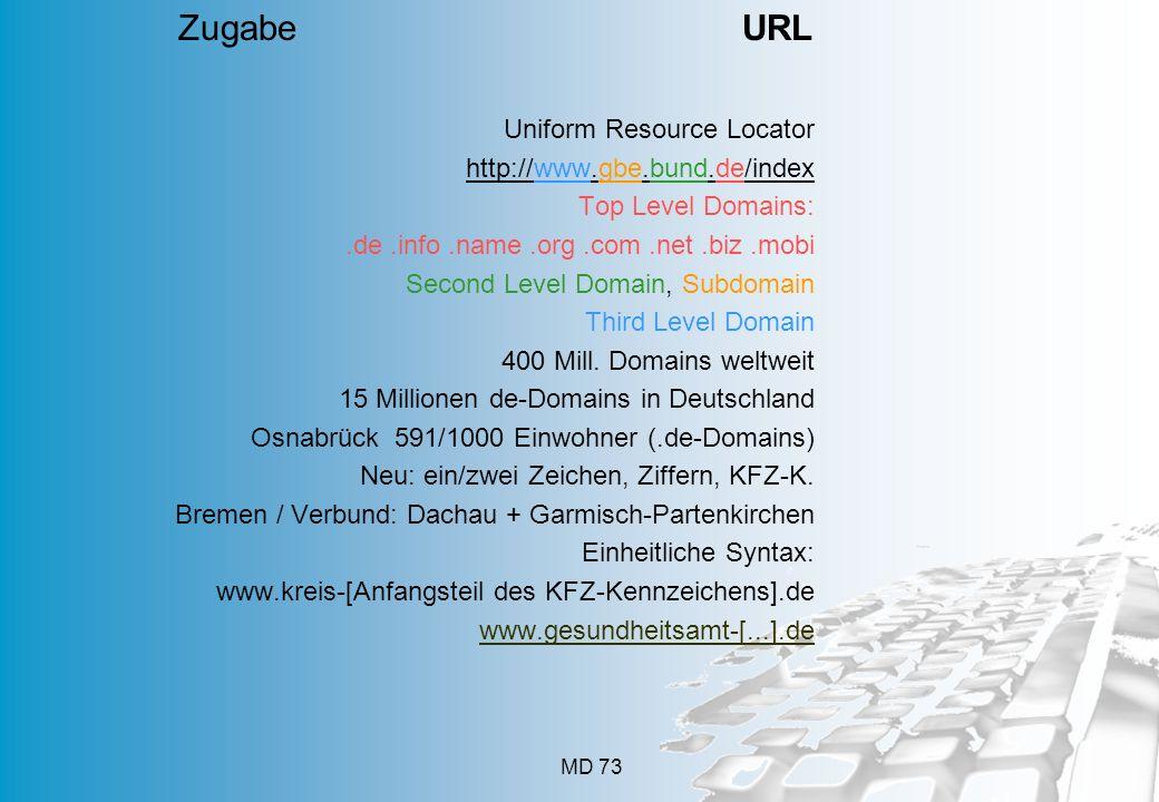 MD 73 Uniform Resource Locator http://www.gbe.bund.de/index Top Level Domains:.de.info.name.org.com.net.biz.mobi Second Level Domain, Subdomain Third