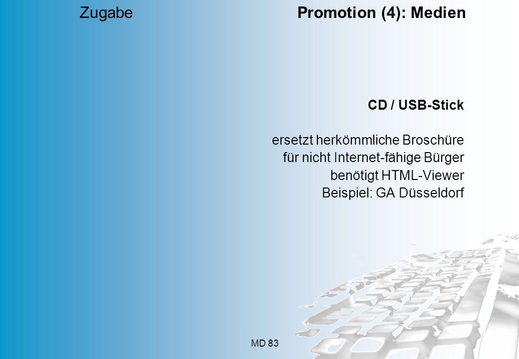MD 83 CD / USB-Stick ersetzt herkömmliche Broschüre für nicht Internet-fähige Bürger benötigt HTML-Viewer Beispiel: GA Düsseldorf Zugabe Promotion (4)