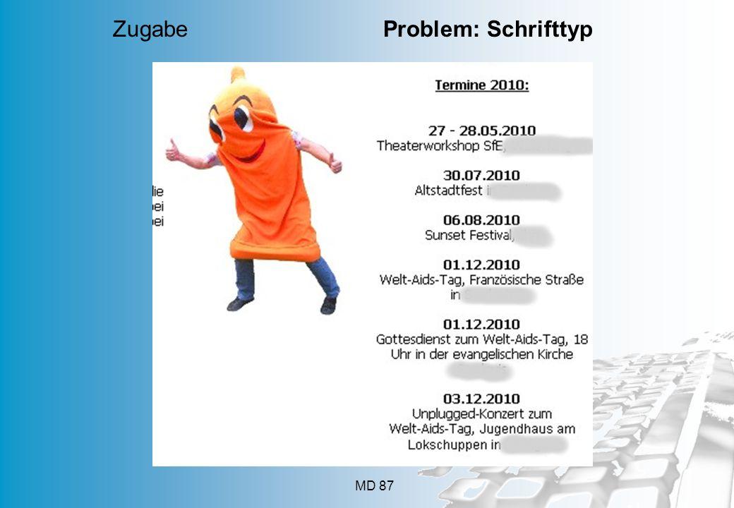 MD 87 Zugabe Problem: Schrifttyp