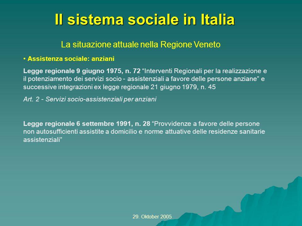 29. Oktober 2005 La situazione attuale nella Regione Veneto Il sistema sociale in Italia Assistenza sociale: anziani Legge regionale 9 giugno 1975, n.