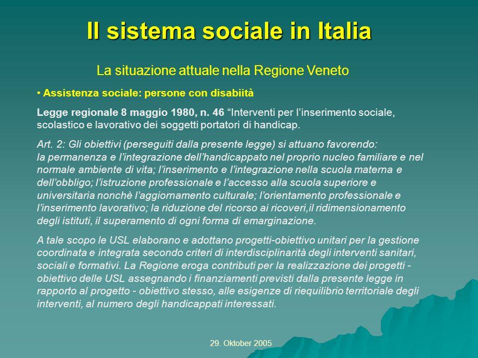 29. Oktober 2005 La situazione attuale nella Regione Veneto Il sistema sociale in Italia Assistenza sociale: persone con disabiità Legge regionale 8 m